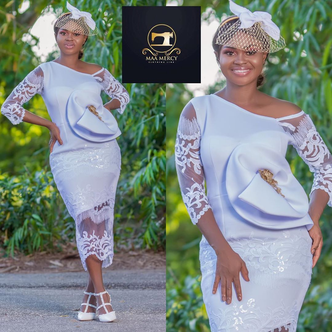 185 Likes 0 Comments Maa Mercy Clothing Line Maamercyclothingline On Instagram Dress Ava In 2020 Classy Dress Outfits Lace Dress Styles African Fashion Dresses