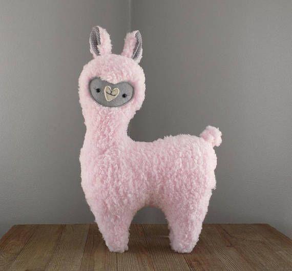 Alpaca or llama stuffed animal, stuffed toy llama in pink with grey ...