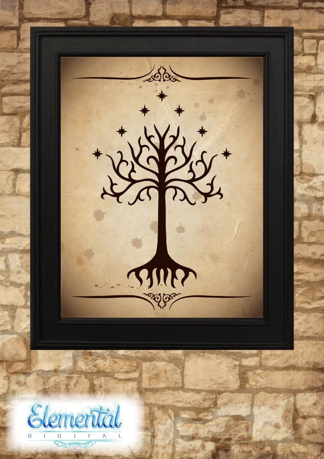 INSTANT DOWNLOAD Printable, Tree of Gondor Vintage Poster, LOTR ...