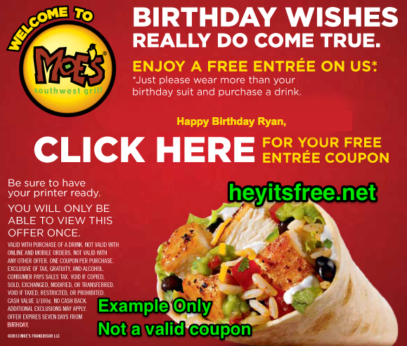 image relating to Moes Printable Menu titled Moes Southwest Grill Birthday Freebie Birthday Freebies