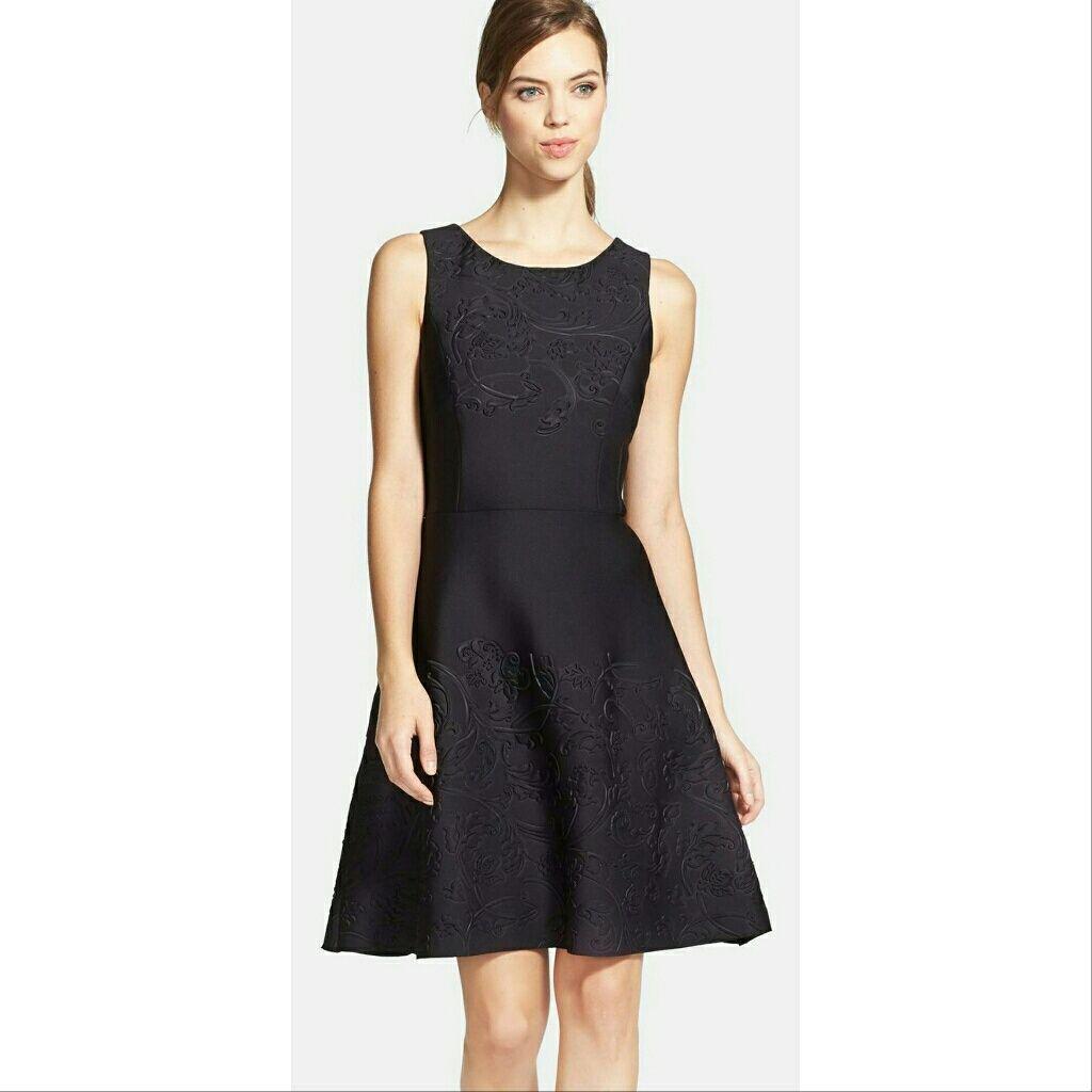 Nwt, Vera Wang Embossed Scuba Black Dress