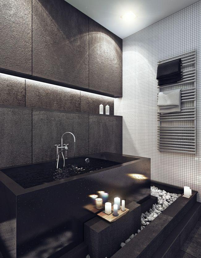 minimalistische schwarze badewanne kiesel wohnideen pinterest kiesel badewannen und schwarzer. Black Bedroom Furniture Sets. Home Design Ideas