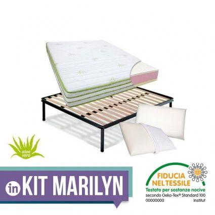 KIT MARILYN – Materasso in Memory e Lattice + rete a doghe + cuscini ...