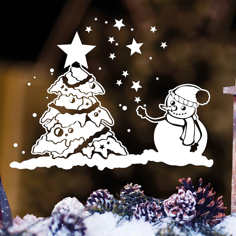 wandtattoo loft fensterbild schneemann mit weihnachtsbaum. Black Bedroom Furniture Sets. Home Design Ideas