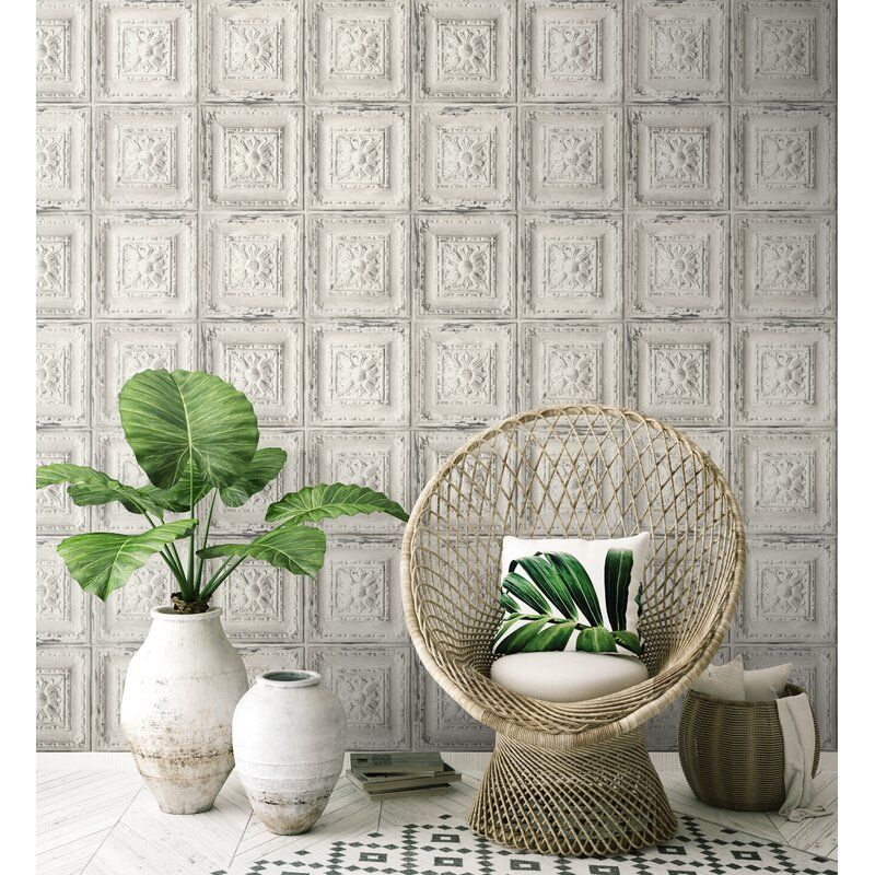 Bungalow Rose Welling Tin Tile 18 L X 20 5 W Peel And Stick Wallpaper Roll Reviews Wayfair Peel And Stick Wallpaper Tin Tiles Peelable Wallpaper