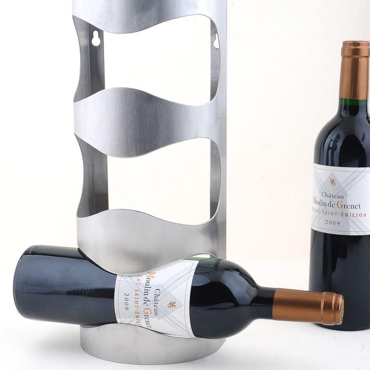 1pc New Design 304 Stainless Steel Wall Wine Rack Mounted Bar Counter Holder For 3 Bottles J3003
