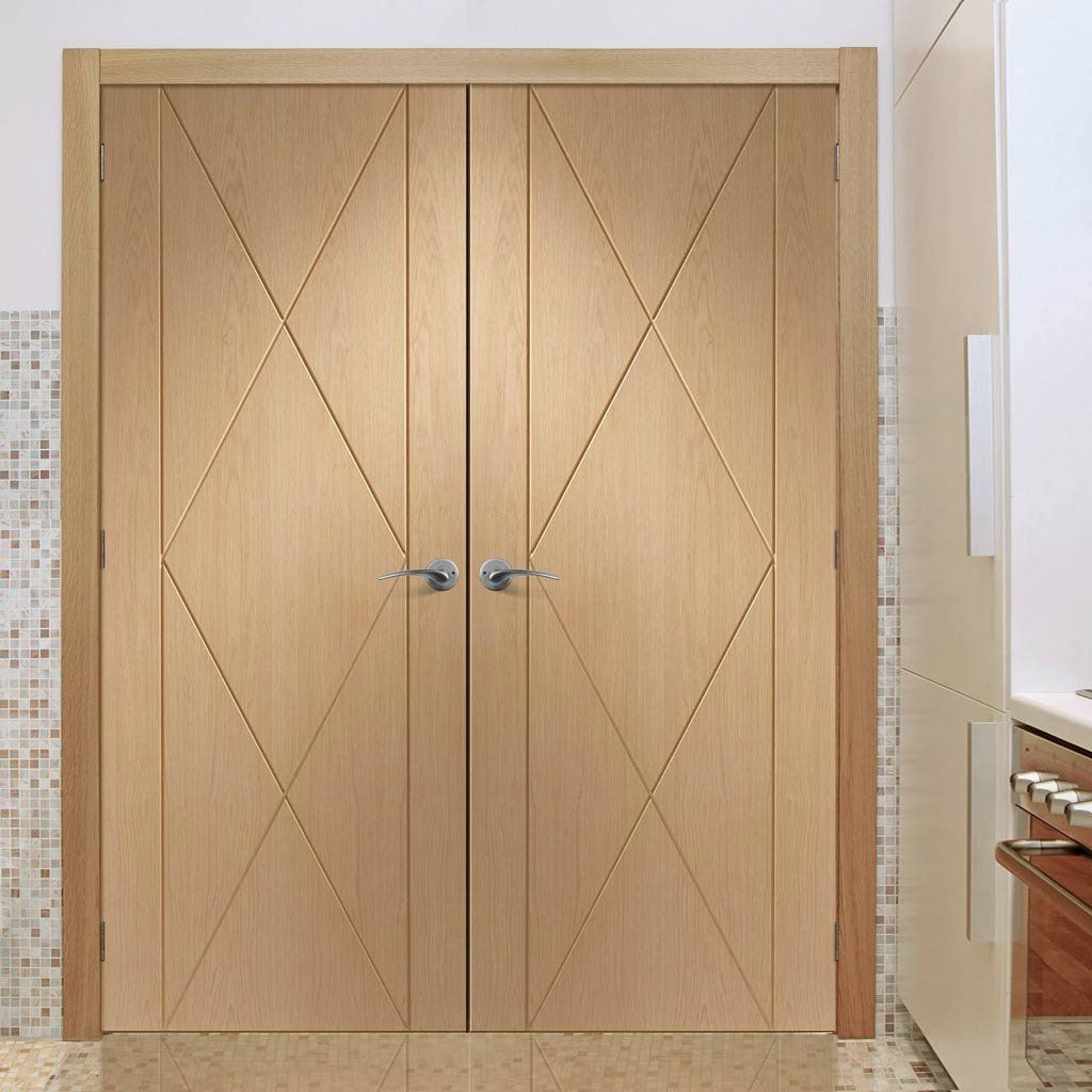 Sassari Oak Flush Door Pair modern looks stylish solid and a nice range of sizes. #doorpair #moderndoors #oakdoorpair & Sassari Oak Flush Door Pair with Groove Design | Pinterest | Flush ...