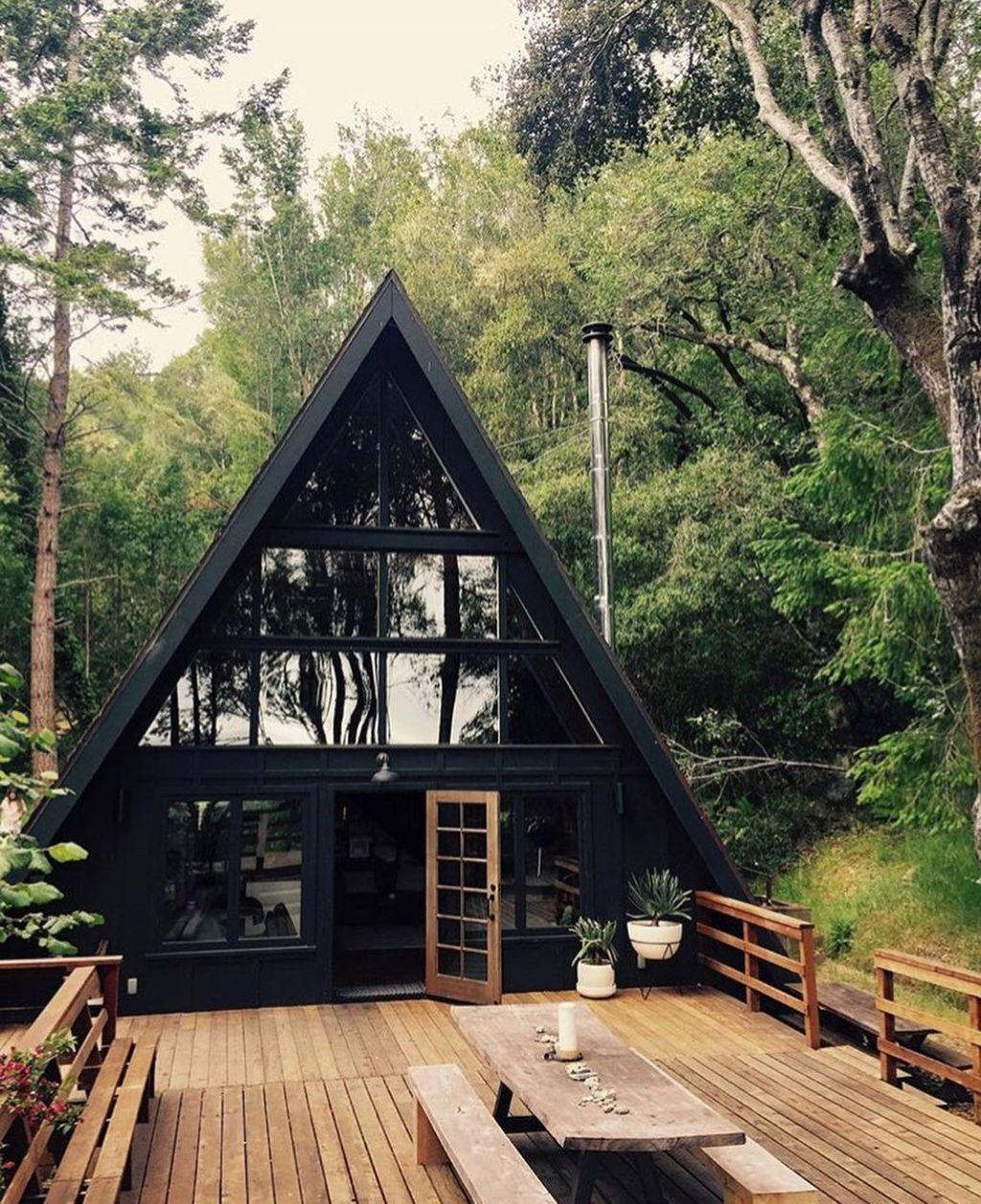 32 Amazing Cozy Tiny House Design Ideas In 2020 Tiny House Design A Frame Cabin A Frame House