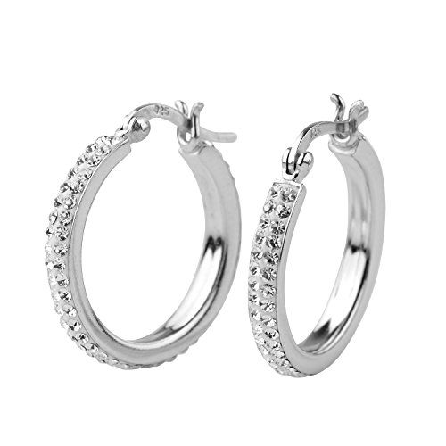 7bb5b7bec Sterling Silver White Crystal Simulated Diamond Women's Hoop Earrings Round  hoop earrings with white crystal.
