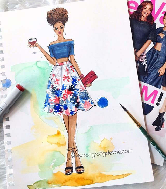 Happy weekend! Outfit inspired by my go to style guide @stylewatchmag  love their newest Denim issue! #friday #weekend #denimday #denimstyle #fashionillustration #fashionillustrator #rongrongdevoe #stylewatch #wineplease