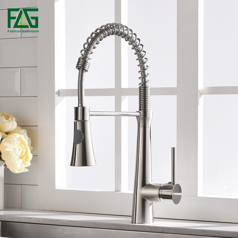 FLG Kitchen Faucets Brushed Nickel Faucets for Kitchen Sink Single Pull Out Spring Spout Mixers Tap Hot Cold Water Tap 1008-33N . . .