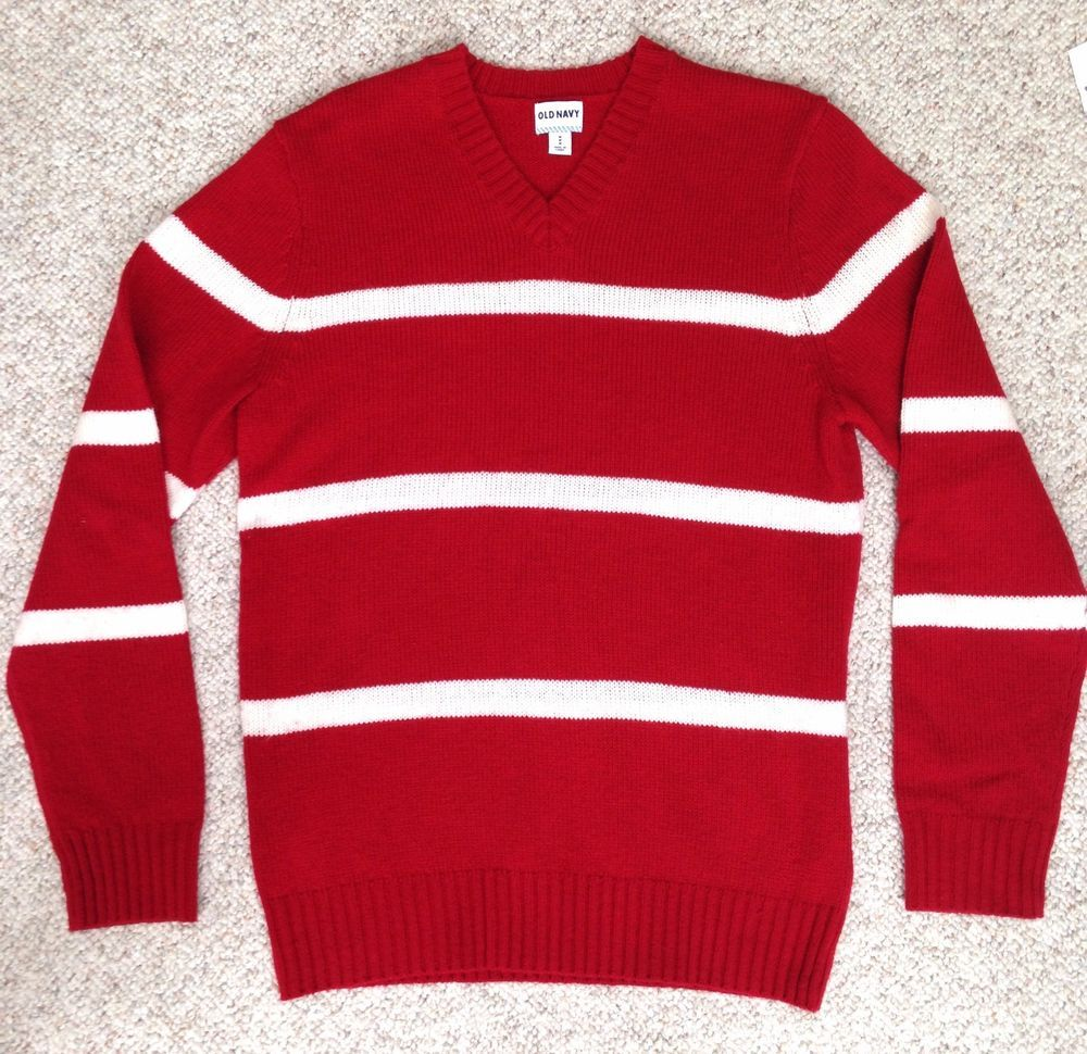 EUC Men(Med) STRIPED RED WHITE SWEATER Old Navy Winter Knit ...