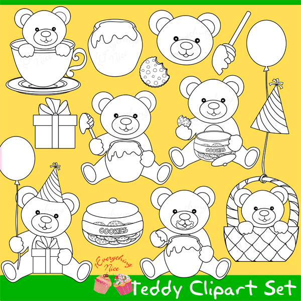 Teddy Bear Lineart Stamps Clipart Set Paint Art Stamp Digital