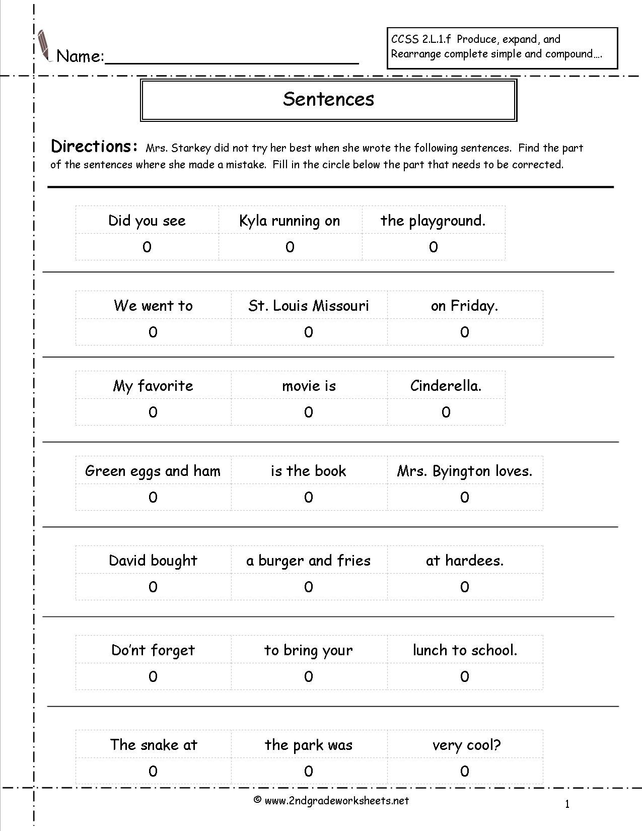 Worksheets Grammar Worksheets 1st Grade correct the sentence worksheet katelynns school work second grade sentences worksheets ccss worksheets