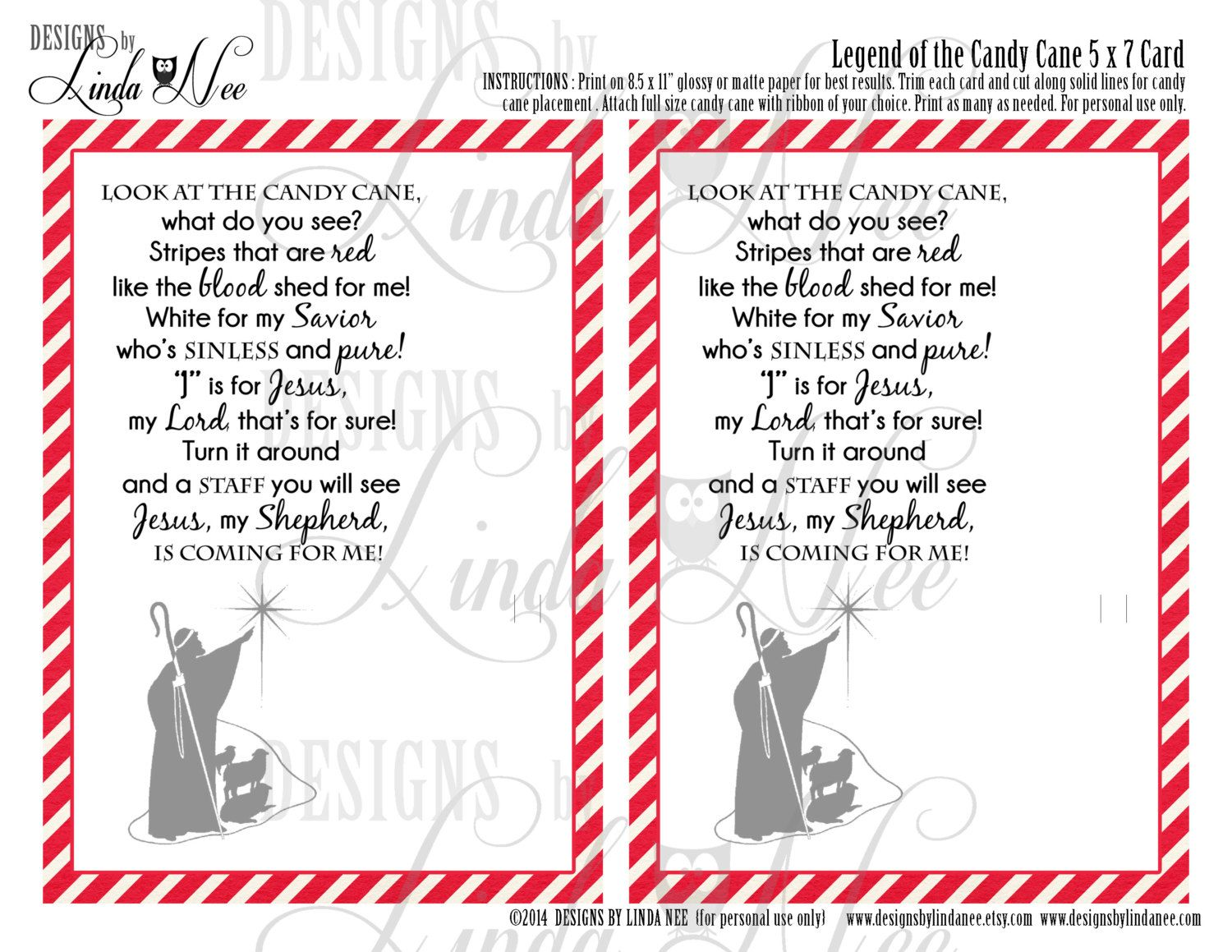 Legend of the Candy Cane - Printable 5 x 7 cards with poem ...