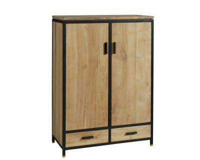 armoire en teck et fer tek import bois wood furniture rangement armoire. Black Bedroom Furniture Sets. Home Design Ideas