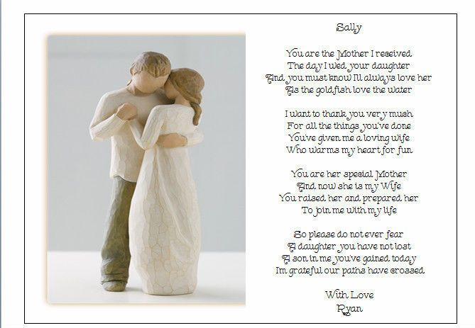 Personalised Wedding Day Poem Gift To The New Mother In Law Of Brother