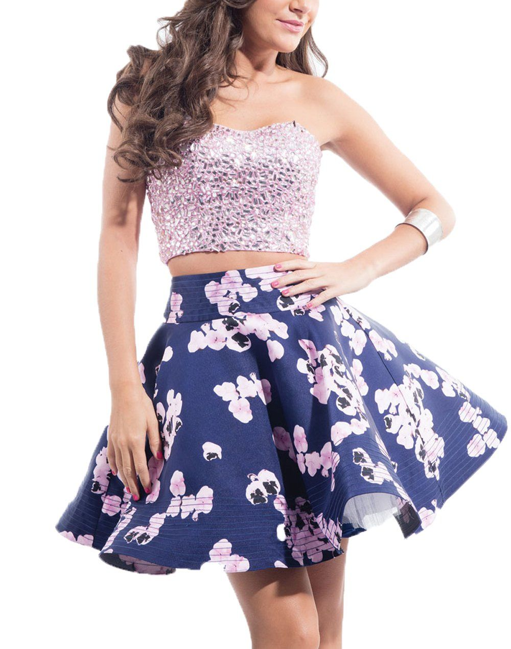 Oliviaus gorgeous two piece homecoming dresses floral print flower