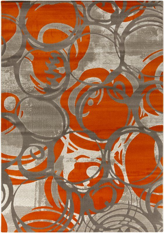 Sewall Machine Woven Orange Area Rug