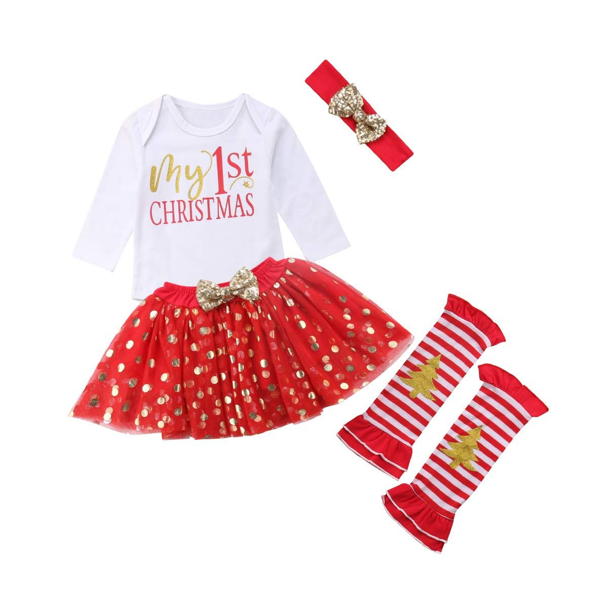 Infant Baby Girl Outfits 1st Birthday One Short Sleeve Romper Top Ruffle Tulle Tutu Skirt Headband Leg Warmers Clothes Set