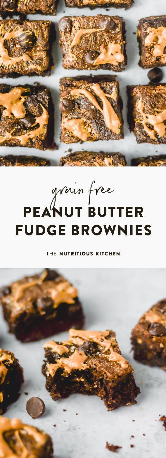 Grain Free Peanut Butter Fudge Brownies #peanutbutterfudge