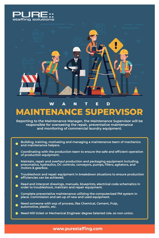 Wanted Maintenance Supervisor 🌐 https//www.purestaffing