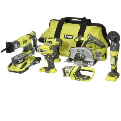 Ryobi ONE  18-Volt Lithium-Ion Ultimate Combo Kit (6-Tool)-P884 - The Home Depot