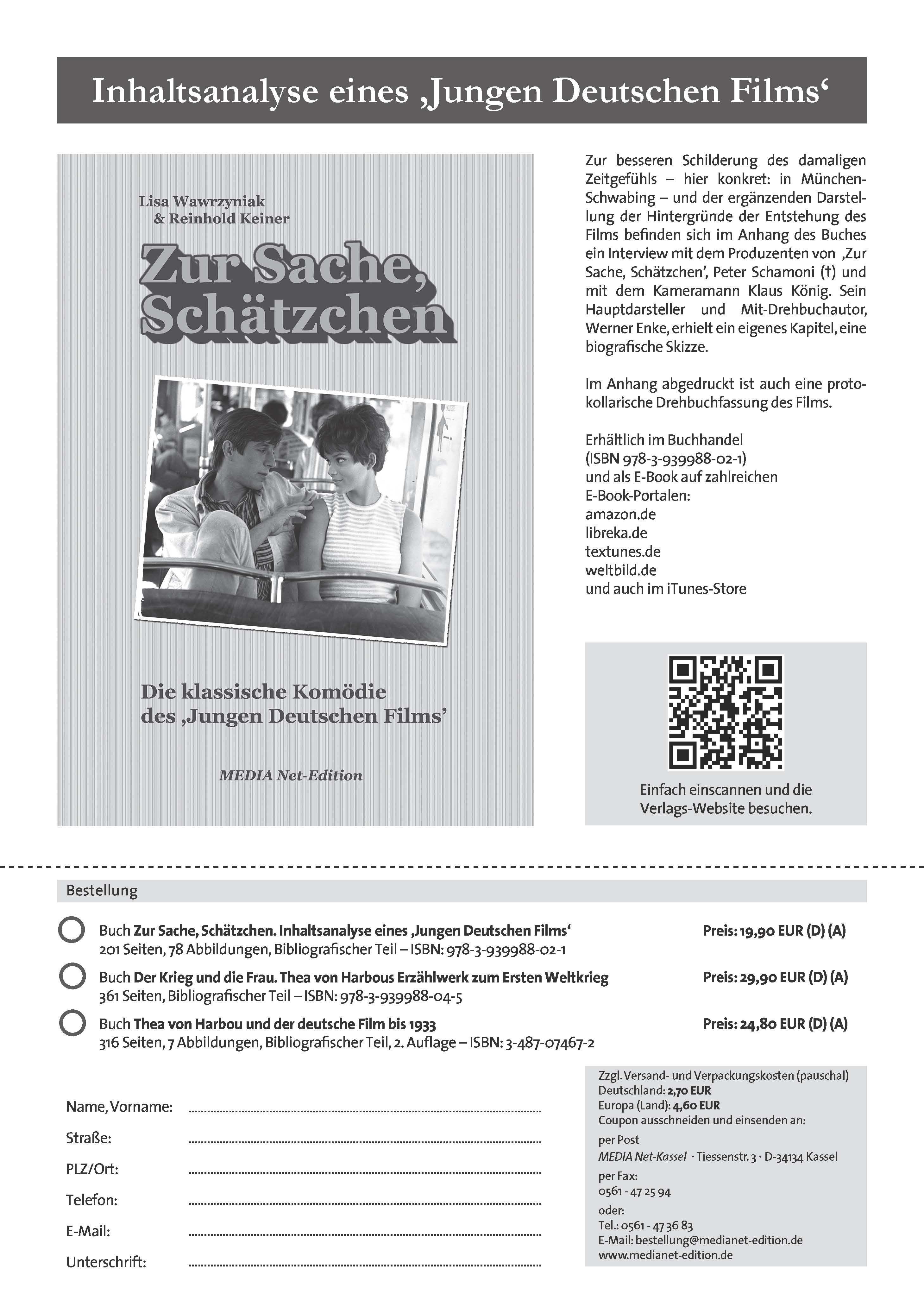 """Der Werbezettel zu unserem """"Schätzchen""""-Buch. Im Anhang abgedruckt ist auch eine protokollarische Drehbuchfassung des Films."""
