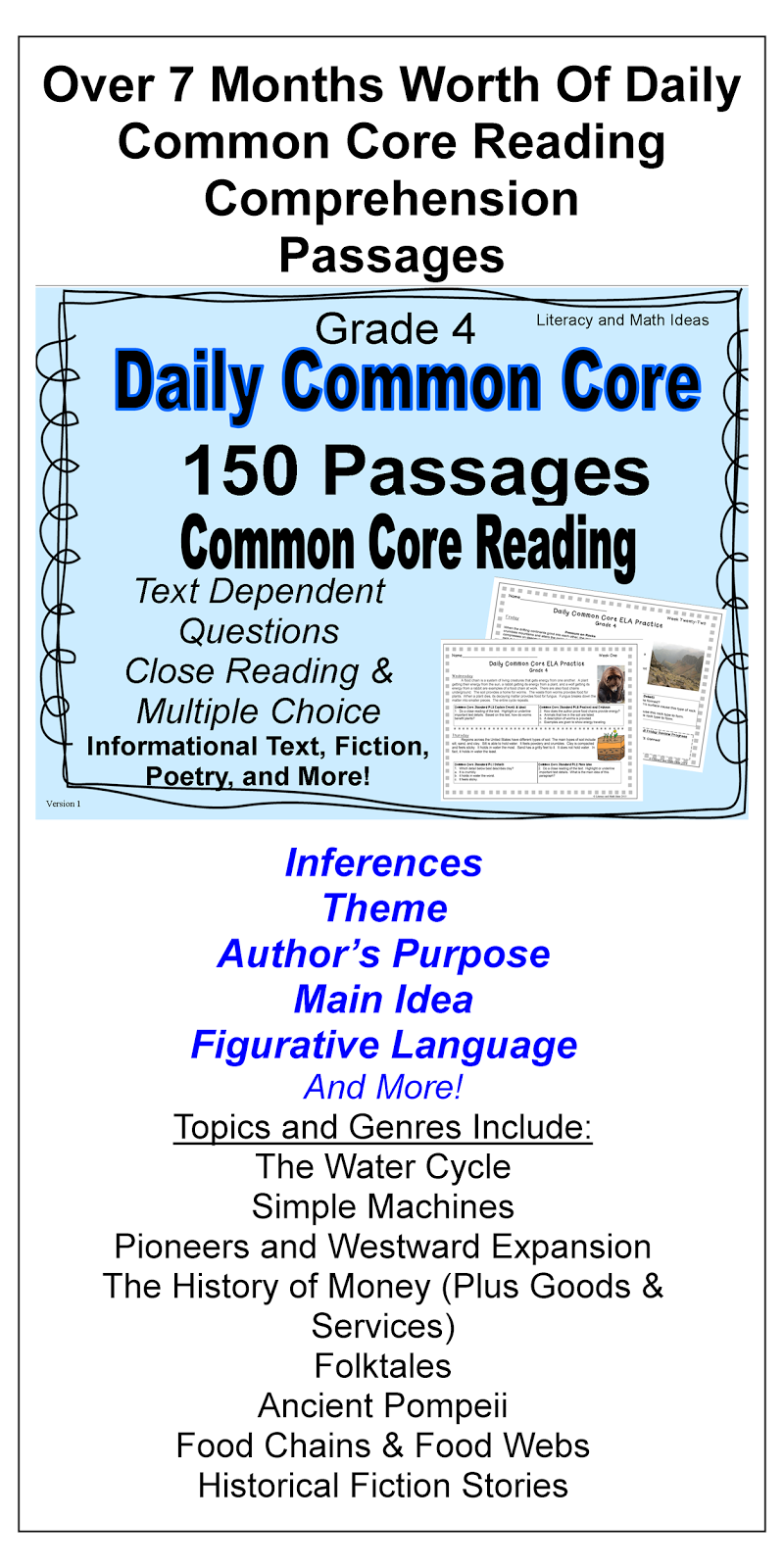 Over Seven Months Worth Of Daily Common Core Reading Comprehension Practice 24 Hours Ar Common Core Reading Reading Comprehension Skills Reading Comprehension [ 1600 x 800 Pixel ]