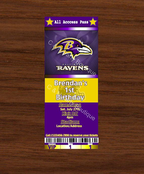 Baltimore Ravens Ticket Invitations by CandNPartyBoutique on Etsy