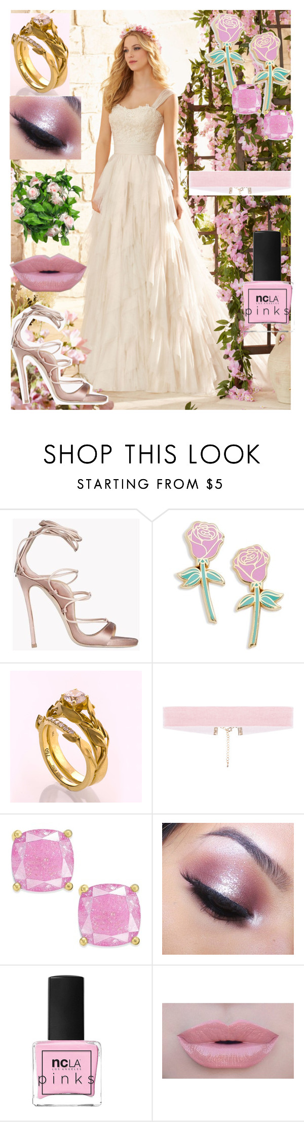 """""""Wedding #7- Pretty Pink Princess (Elijah)"""" by wherethewldthngsr ❤ liked on Polyvore featuring Dsquared2, Big Bud Press, Kate Spade, Too Faced Cosmetics, ncLA and Morphe"""