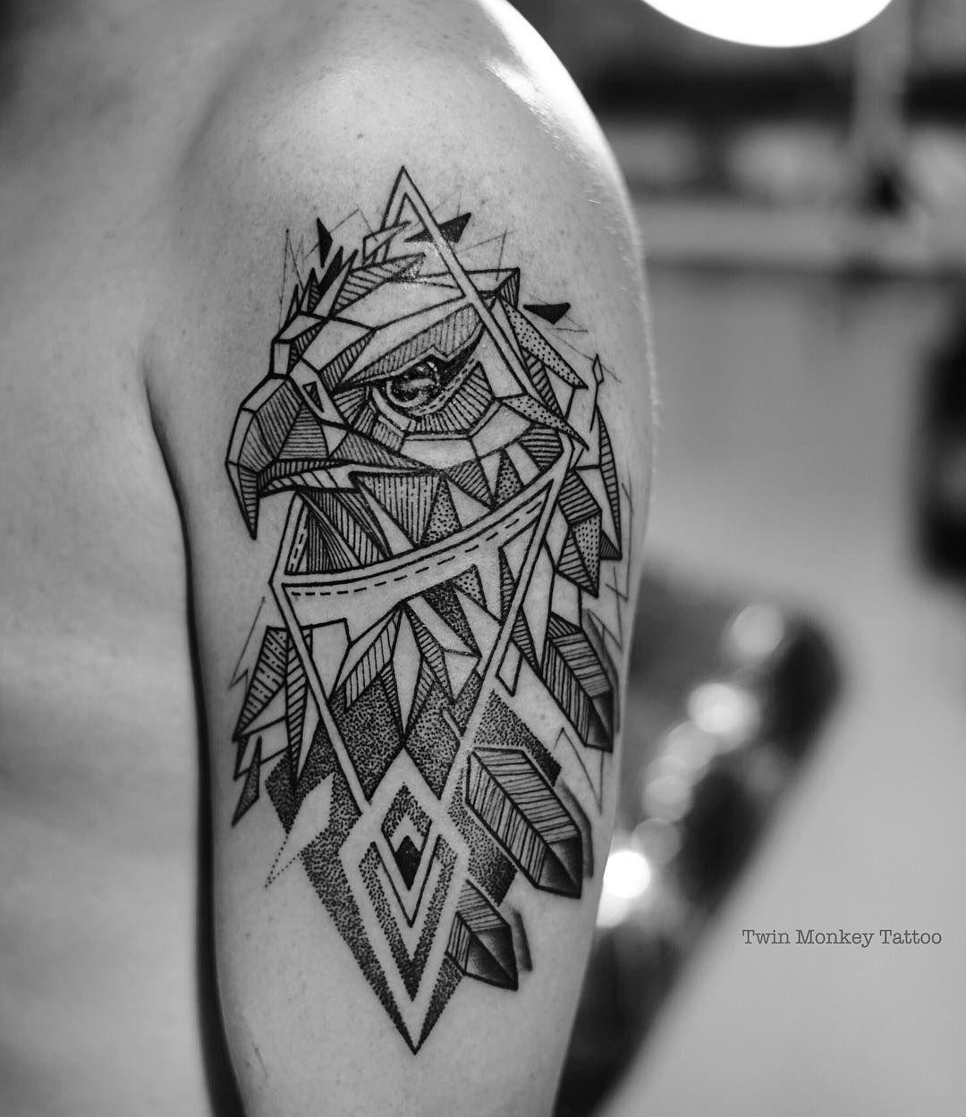 Resultado de imagen de blackwork geometric eagle tattoo for Black eagle tattoo shop
