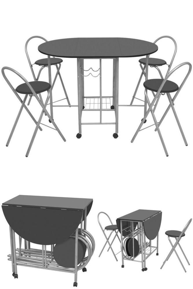 Black Folding Table Set 4 Chairs Bar Stools Compact Small Kitchen Dining Room Kitchen Dining Room Small Kitchen Folding Table