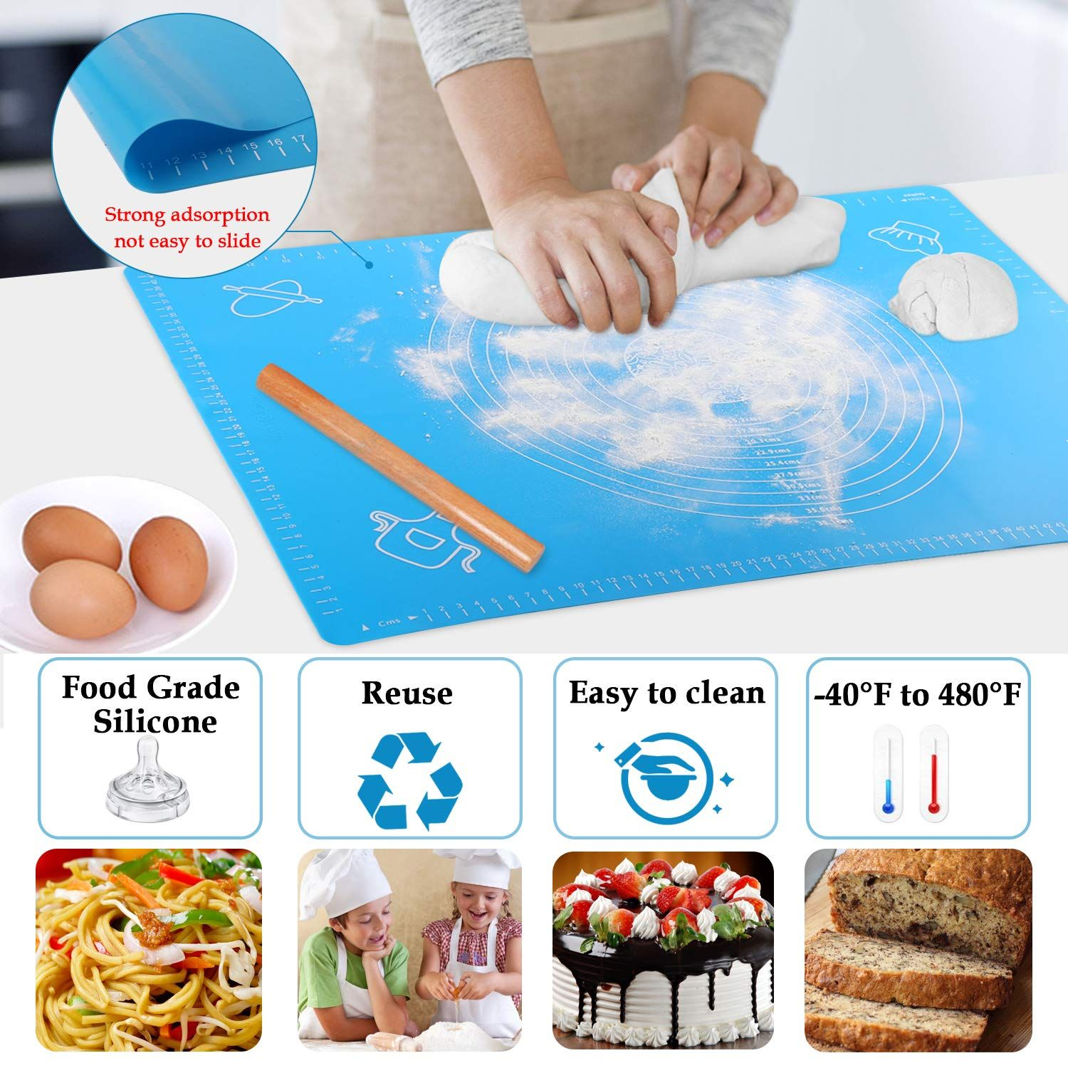 Extra Large Silicone Baking Mat 25 X18 Non Stick Pastry Mat Table