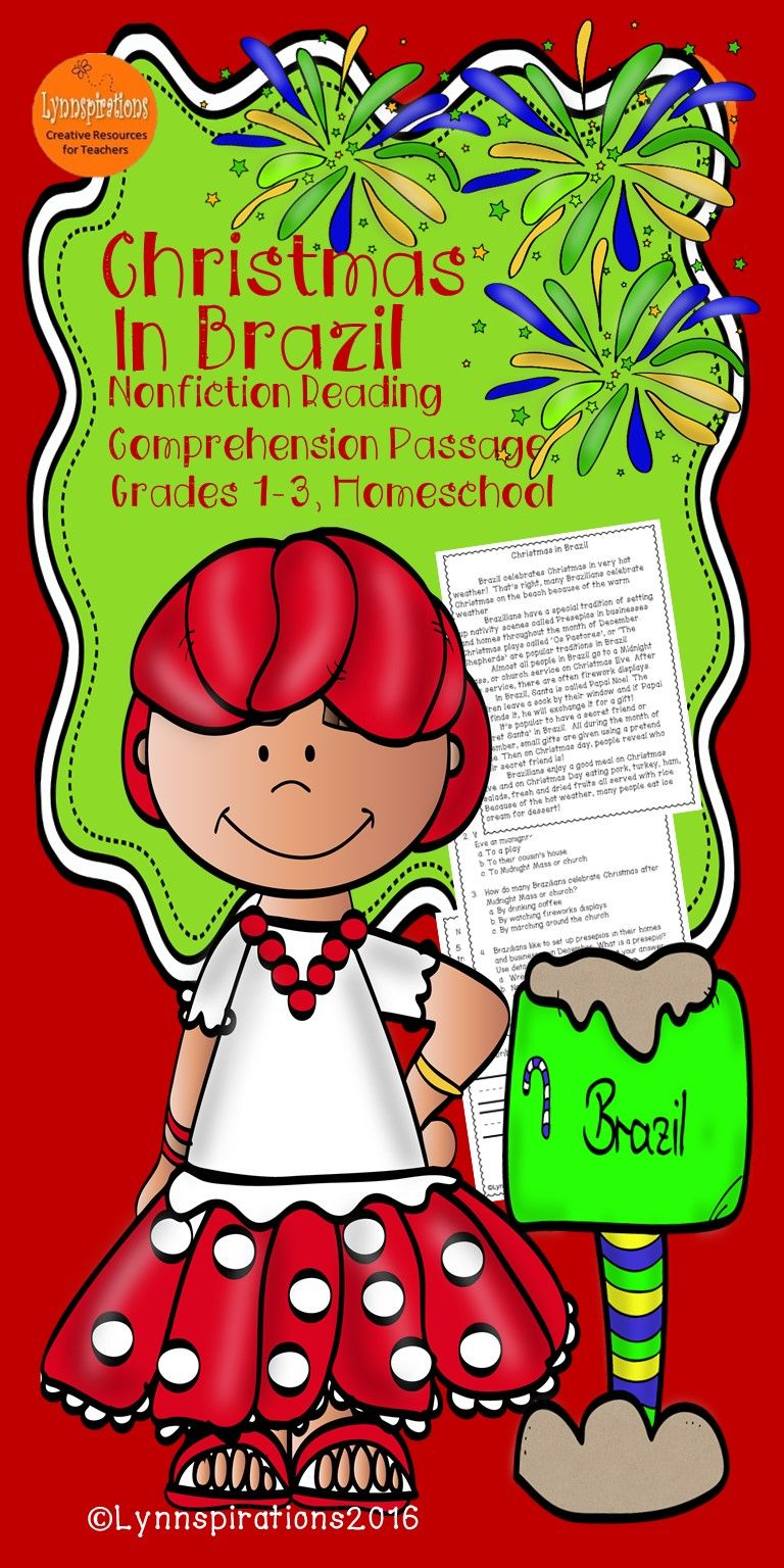 This Christmas Around the World Brazil reading comprehension passage for grades 1-3 can be used in your class to help your students with reading comprehension skills as well as with test taking skills.   Please take a preview peek!   Included: An engaging passage with 4 multiple choice questions and 2 written responses.