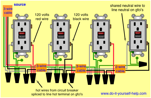 Wiring Diagrams Multiple Receptacle Outlets | Home electrical wiring,  Outlet wiring, Installing electrical outlet | Two Gfci Schematic Wiring Diagram |  | Pinterest