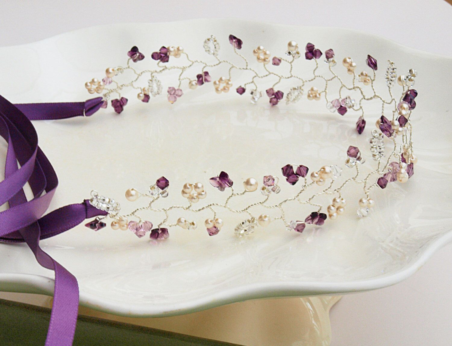 Butterfly hair accessories for weddings uk - Items Similar To Flutter Purple Butterfly Hair Vine Pearl Crystal Headdress Wedding Tiara Bun Wrap Bridal Hair Accessories Amethyst Bridesmaid Boho Uk Made