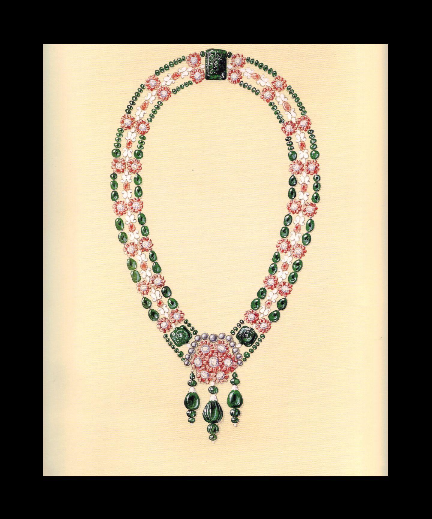1928 Boucheron Bib Collar Design for Maharaja Bhupinder Singh of Patiala