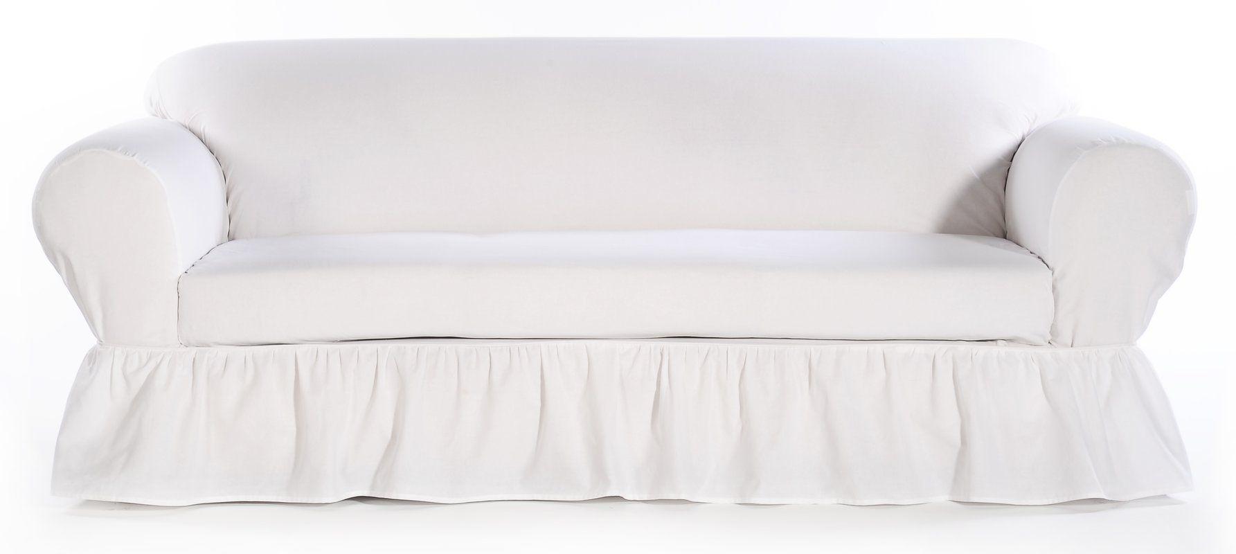 Sofa Skirted Box Cushion Sofa Slipcover With Images White Slipcover Sofa Slipcovers For Chairs Slipcovers