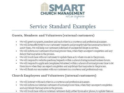 Example Service Standards  Work    Churches Form