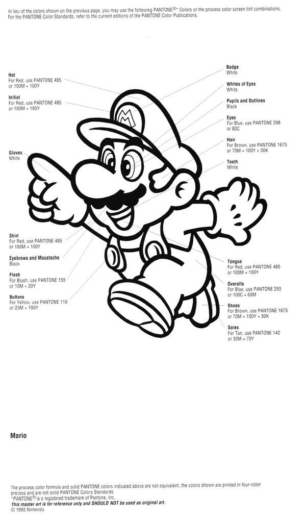 Pantone for Mario from Nintendo Character Guide (1993