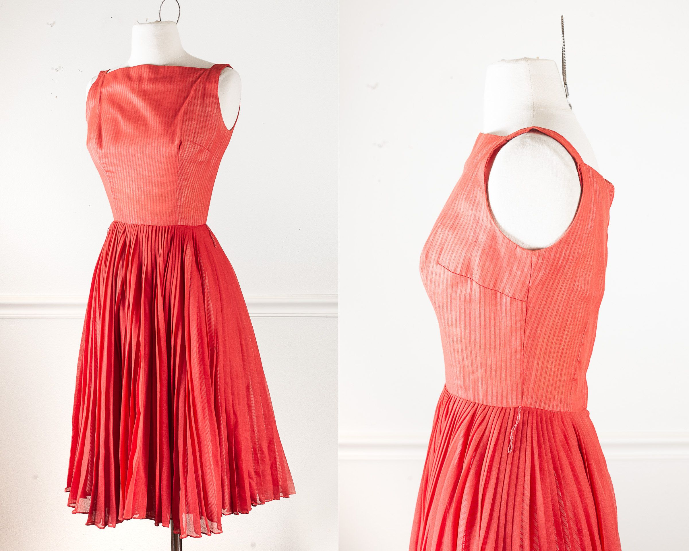 50s 60s Dress Vintage Retro Fashion Vintage 60s Anne Fogerty Pleated Fit And Flare Red Cotton Su Flared Skirt Dress Vintage Dresses Cotton Stripe Dresses [ 1920 x 2400 Pixel ]