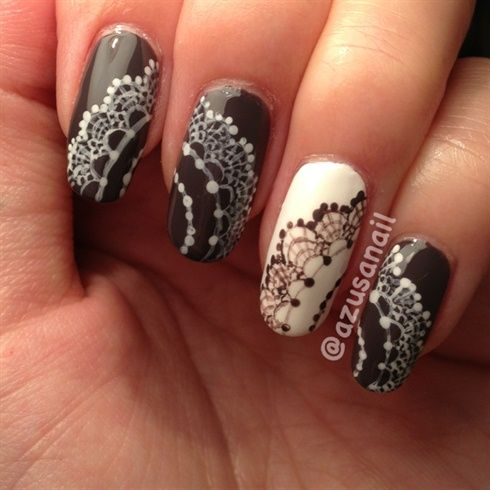 Hand Painted Lace Design By Azusa From Nail Art Gallery Lace Nail Art Lace Painting Lace Nail Design