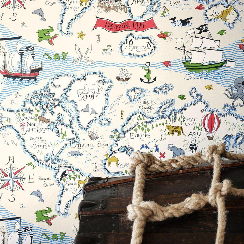 Sanderson Wallpaper Treasure Map 214040 Chambre Enfant Chambres