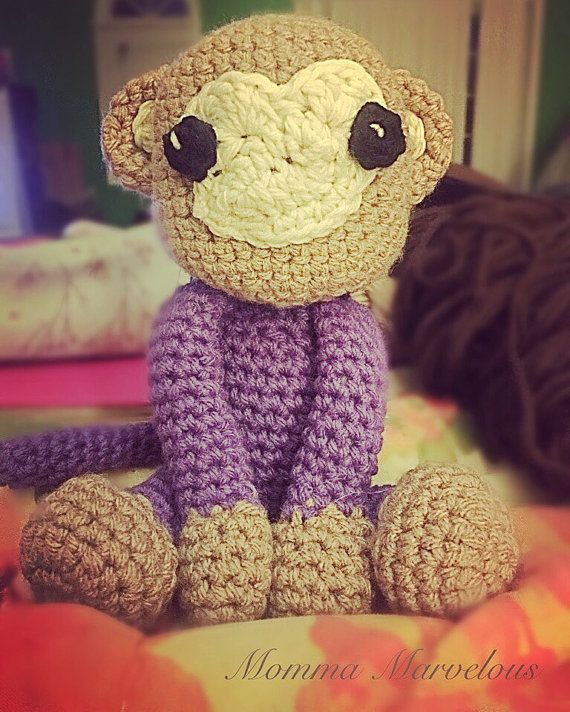 Monkey love stuffed animal crochet by MommaMarvelousShoppe on Etsy