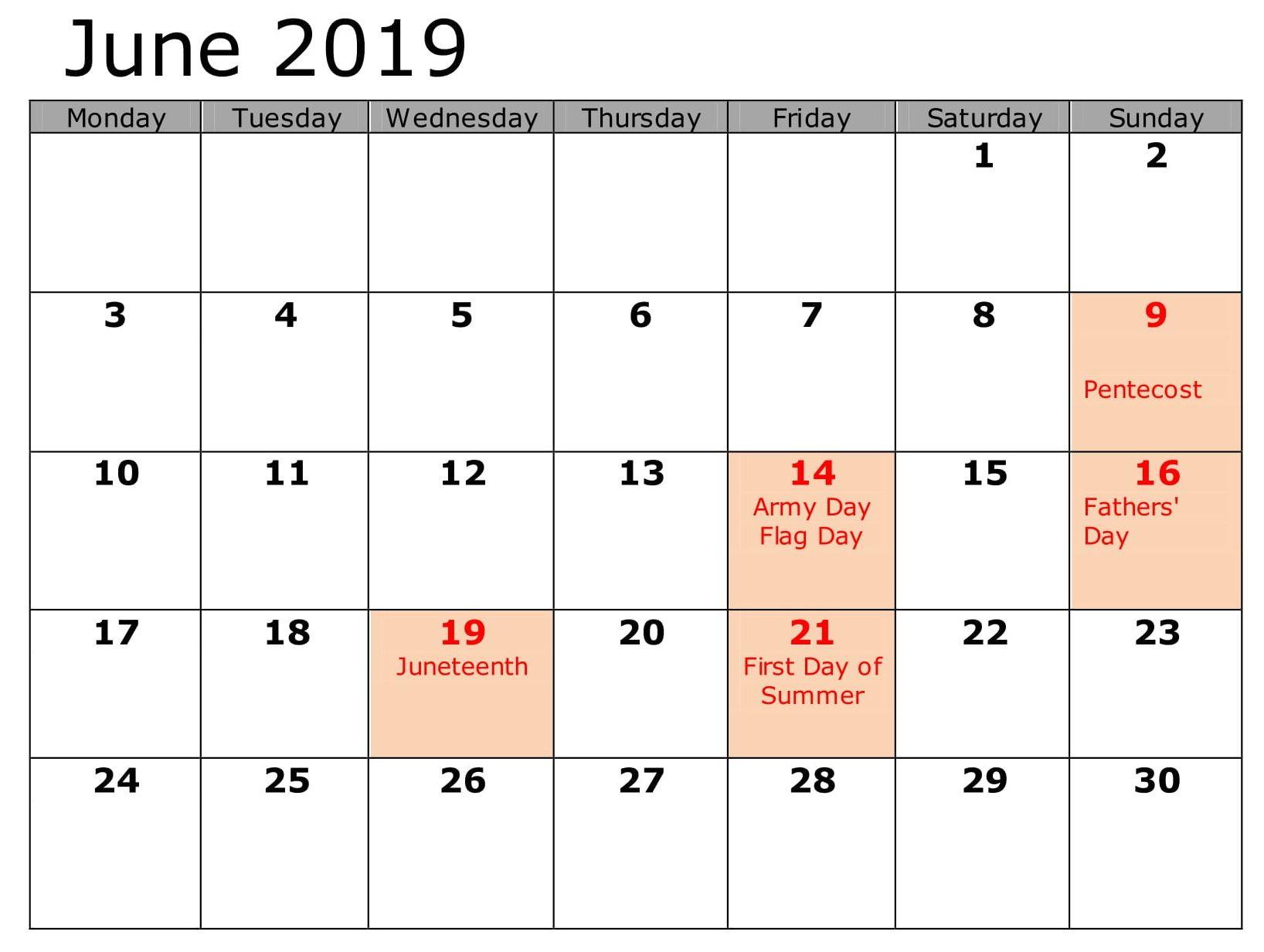 June 2019 Calendar With Holidays US, UK, Canada, Australia