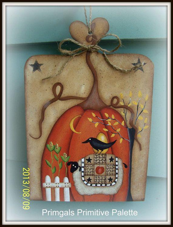 Primitive Fall Wood Pumpkin Sheep Plaque Hand Painted Home Decor