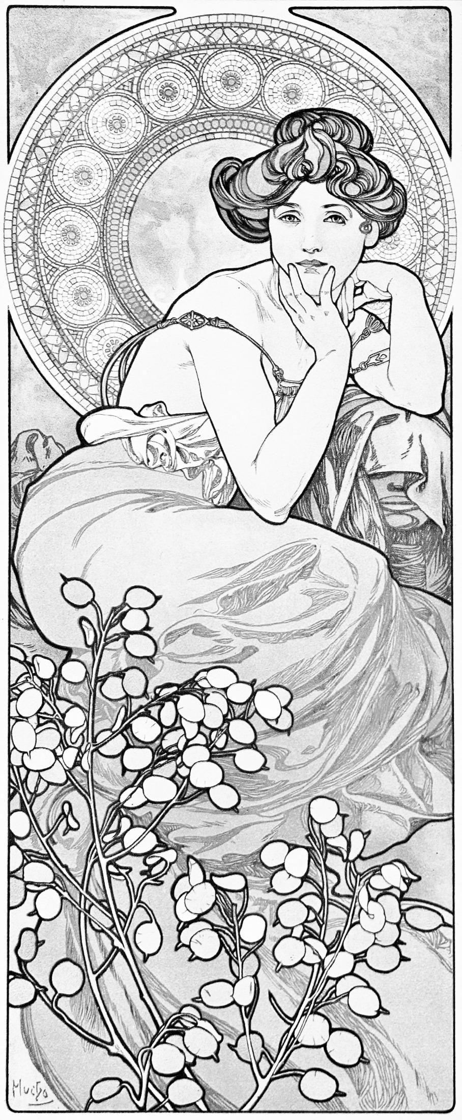 Amazon Alphonse Muchas Art Nouveau A Vintage Coloring Book Volume 1