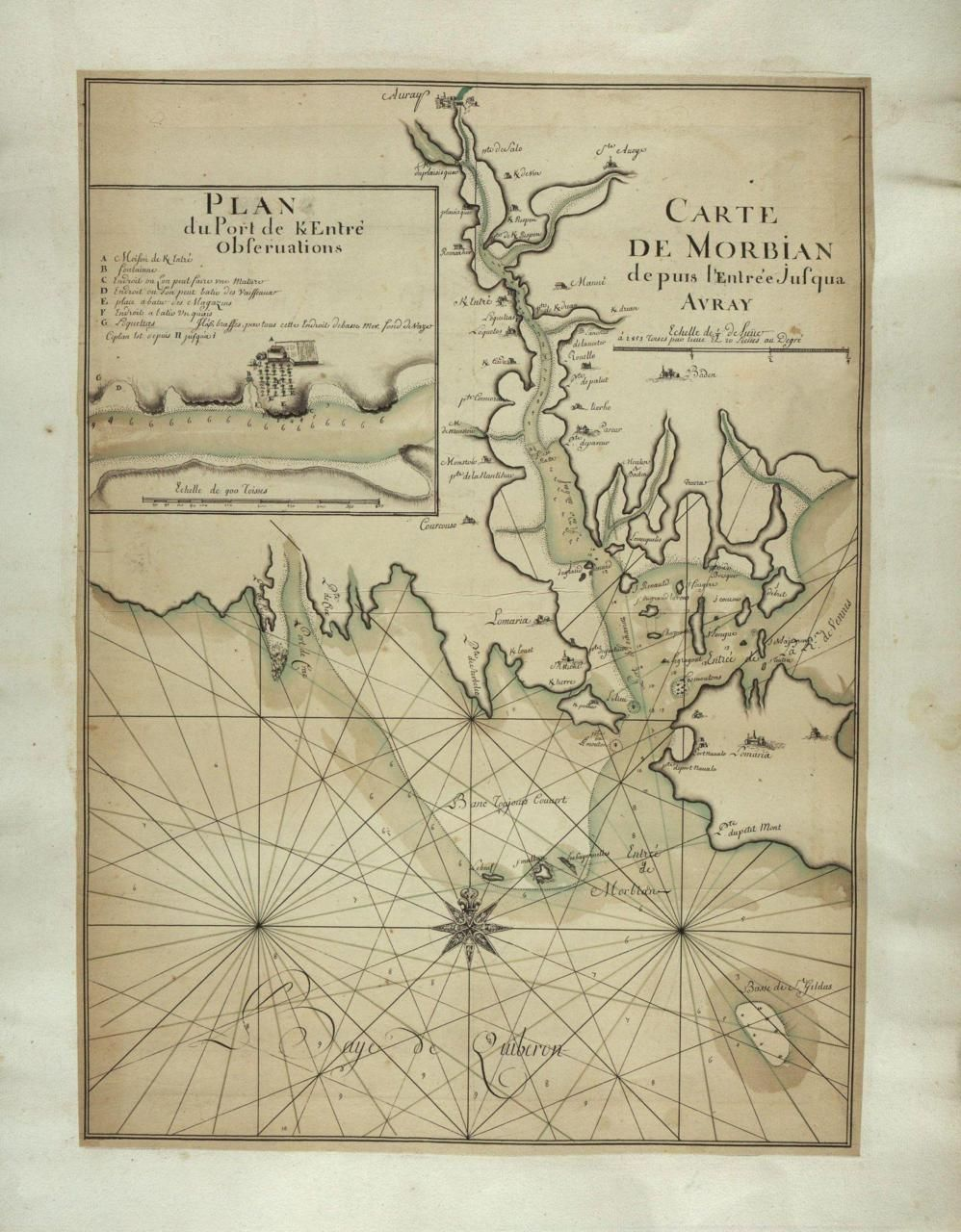 1700s Map Of Golfe Du Morbihan France Carte Marine Cartes De
