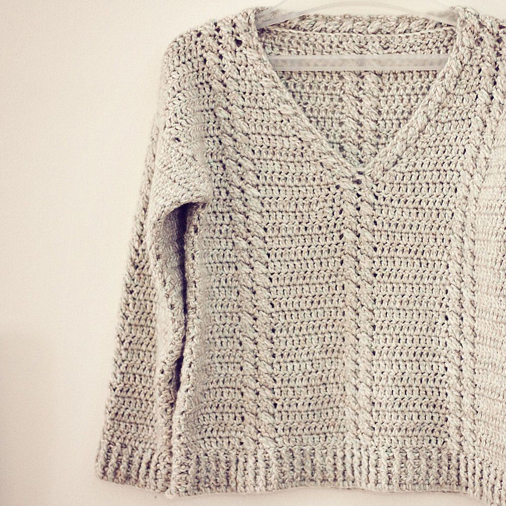 Crochet PATTERN - Cable V-neck Sweater | Tejido, Ganchillo y Blusas